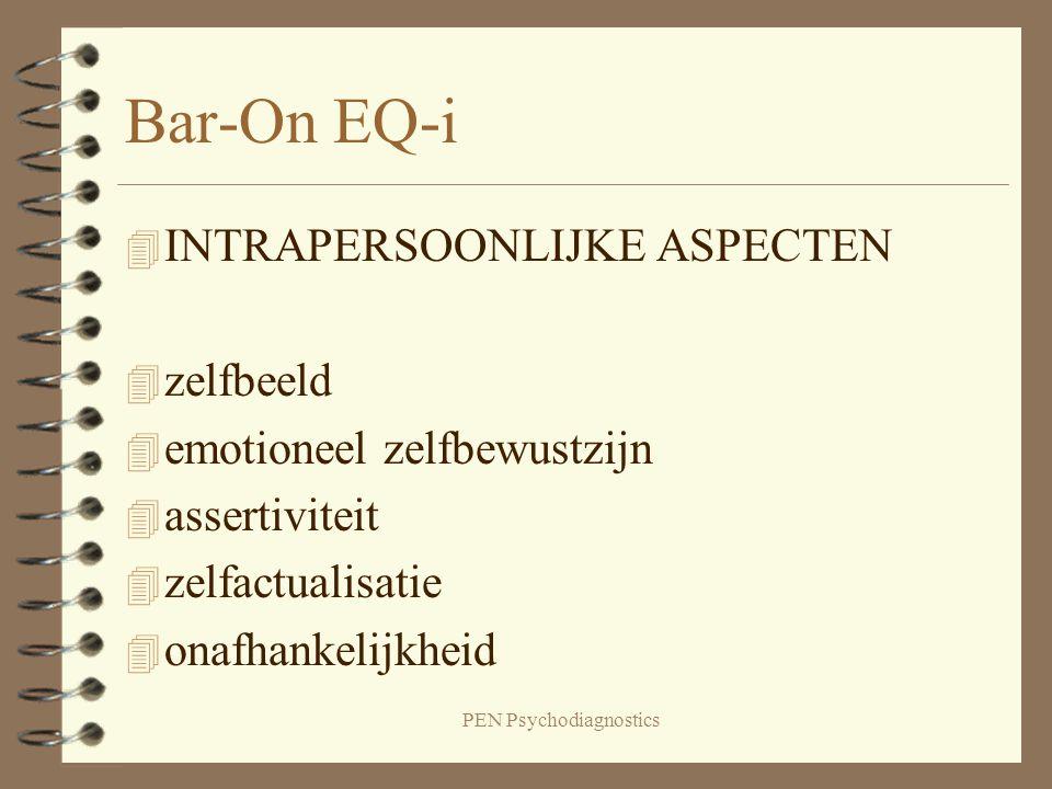 PEN Psychodiagnostics Bar-On EQ-i 4 INTRAPERSOONLIJKE ASPECTEN 4 zelfbeeld 4 emotioneel zelfbewustzijn 4 assertiviteit 4 zelfactualisatie 4 onafhankel