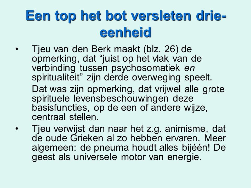 """Een top het bot versleten drie- eenheid Tjeu van den Berk maakt (blz. 26) de opmerking, dat """"juist op het vlak van de verbinding tussen psychosomatiek"""