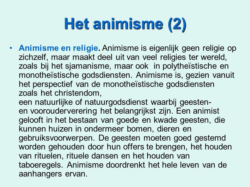 Het animisme (2) Animisme en religie. Animisme is eigenlijk geen religie op zichzelf, maar maakt deel uit van veel religies ter wereld, zoals bij het