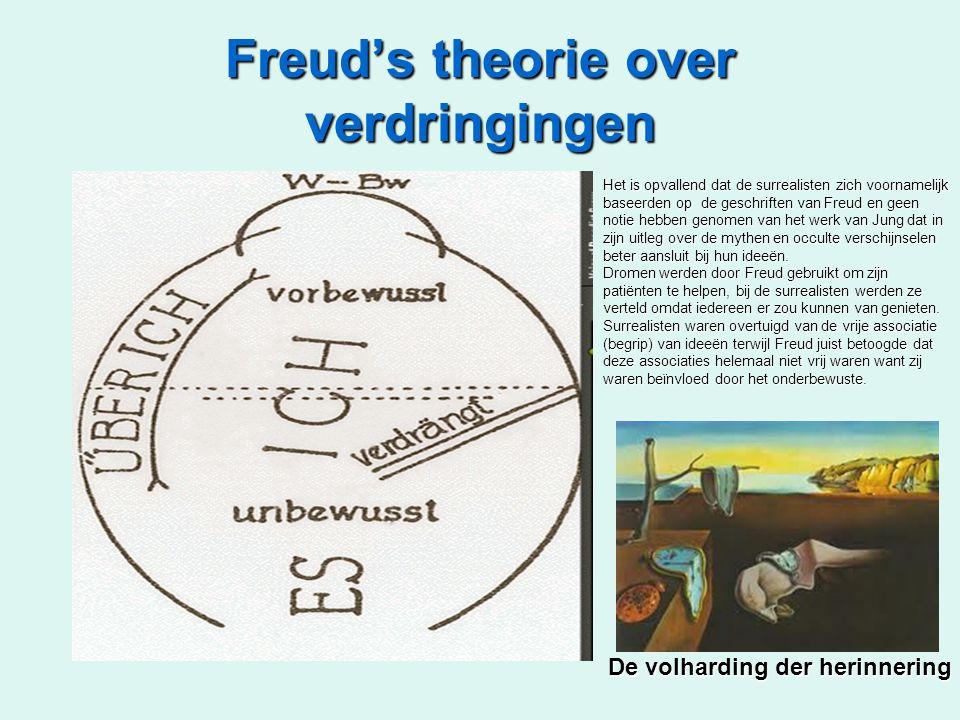 Freud's theorie over verdringingen Het is opvallend dat de surrealisten zich voornamelijk baseerden op de geschriften van Freud en geen notie hebben genomen van het werk van Jung dat in zijn uitleg over de mythen en occulte verschijnselen beter aansluit bij hun ideeën.