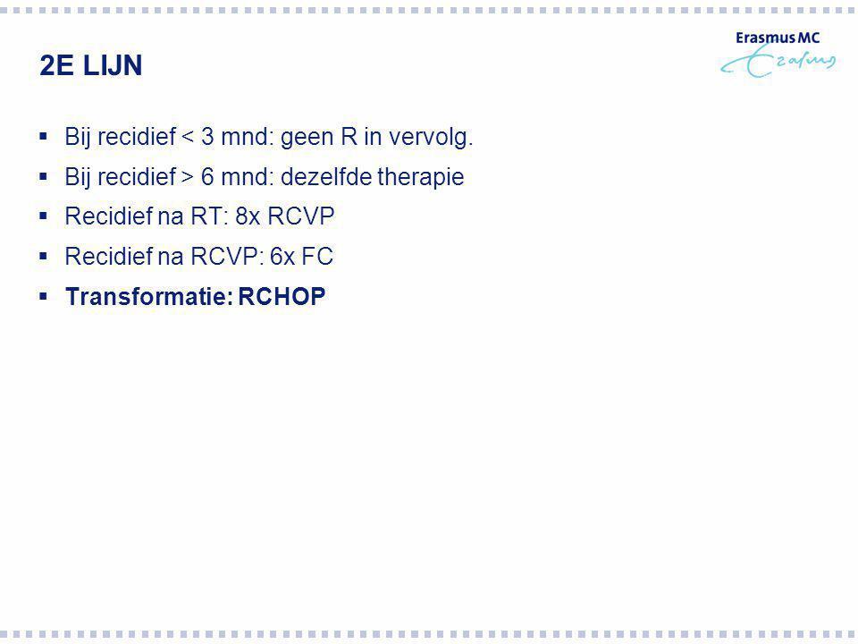 2E LIJN  Bij recidief < 3 mnd: geen R in vervolg.  Bij recidief > 6 mnd: dezelfde therapie  Recidief na RT: 8x RCVP  Recidief na RCVP: 6x FC  Tra