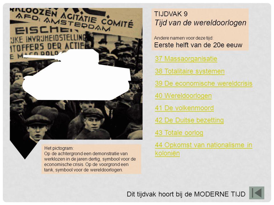 TIJDVAK 9 Tijd van de wereldoorlogen Andere namen voor deze tijd: Eerste helft van de 20e eeuw 37 Massaorganisatie 38 Totalitaire systemen 39 De econo