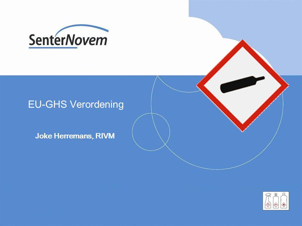 Overzicht presentatie VN-GHS De EU-GHS verordening en de VN-GHS De EU-GHS verordening De overgangstermijnen Wat staat u te doen?