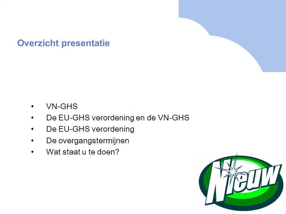 De EU-GHS verordening, EC 1272/2008 Scope Opbouw Indeling van stoffen Indeling van mengsels Het etiket Melding bij ECHA, geharmoniseerde classificatie, C&L inventaris