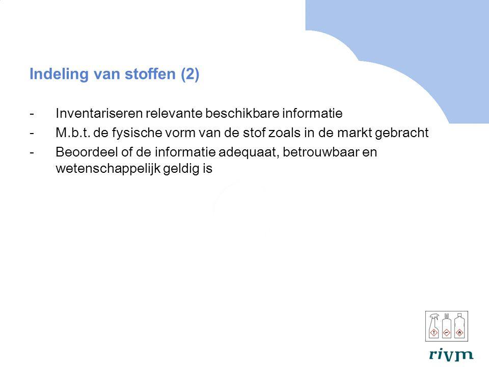 Indeling van stoffen (2) -Inventariseren relevante beschikbare informatie -M.b.t.