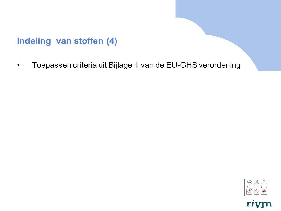 Indeling van stoffen (4) Toepassen criteria uit Bijlage 1 van de EU-GHS verordening
