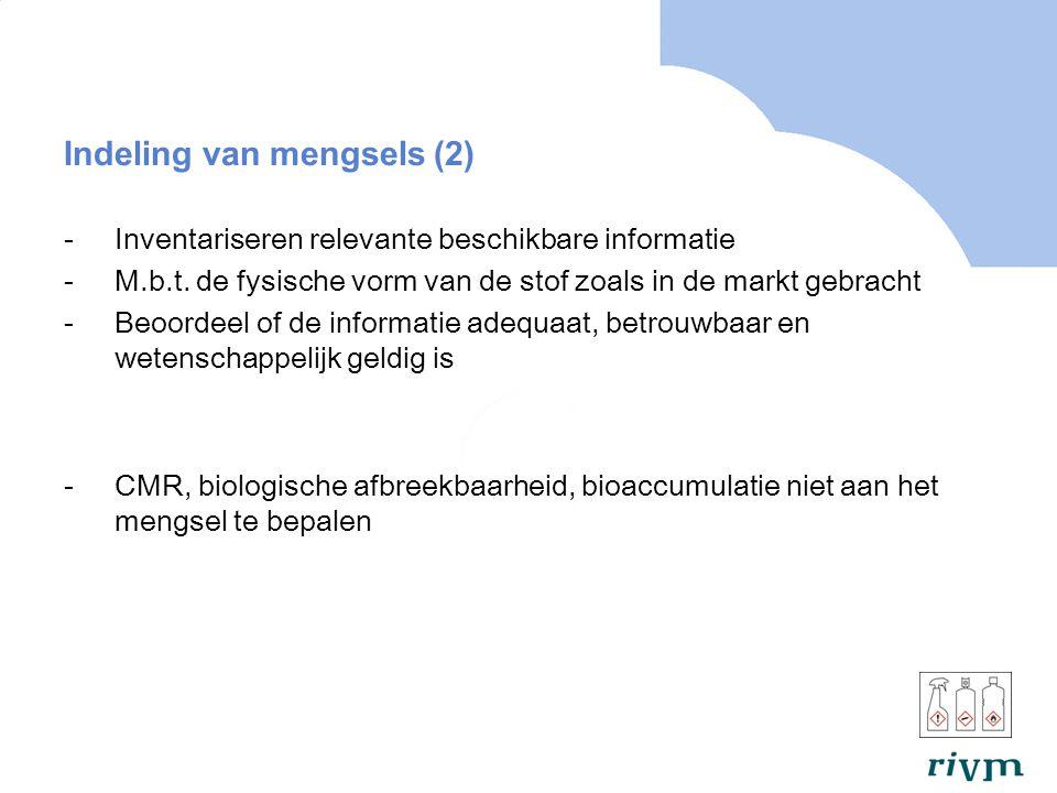 Indeling van mengsels (2) -Inventariseren relevante beschikbare informatie -M.b.t.