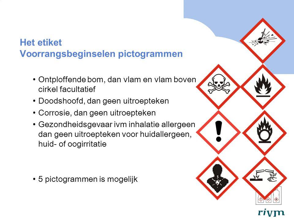 Het etiket Voorrangsbeginselen pictogrammen Ontploffende bom, dan vlam en vlam boven cirkel facultatief Doodshoofd, dan geen uitroepteken Corrosie, dan geen uitroepteken Gezondheidsgevaar ivm inhalatie allergeen, dan geen uitroepteken voor huidallergeen, huid- of oogirritatie 5 pictogrammen is mogelijk
