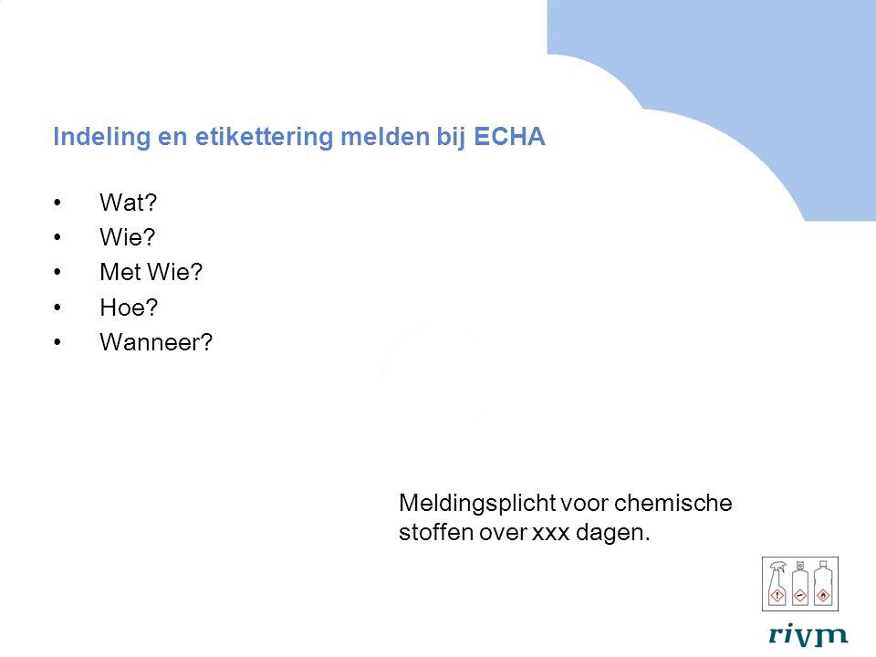Indeling en etikettering melden bij ECHA Wat.Wie.