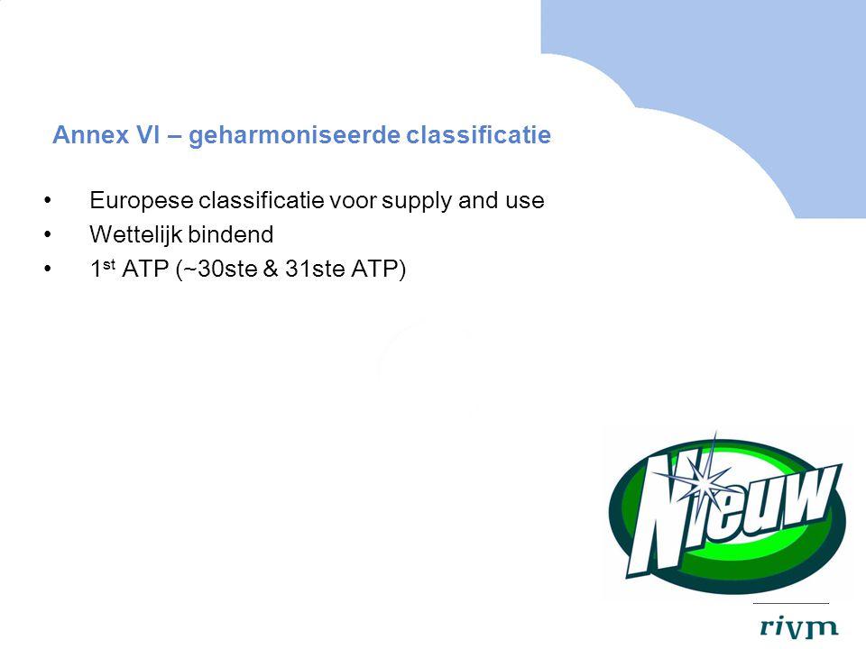 Annex VI – geharmoniseerde classificatie Europese classificatie voor supply and use Wettelijk bindend 1 st ATP (~30ste & 31ste ATP)