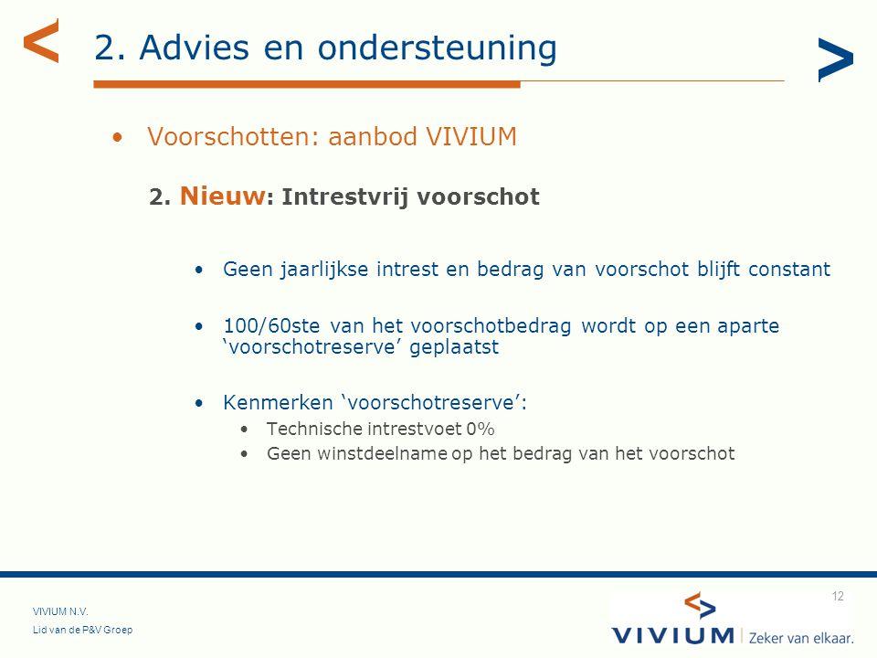 VIVIUM N.V. Lid van de P&V Groep 12 2. Advies en ondersteuning Voorschotten: aanbod VIVIUM 2. Nieuw : Intrestvrij voorschot Geen jaarlijkse intrest en