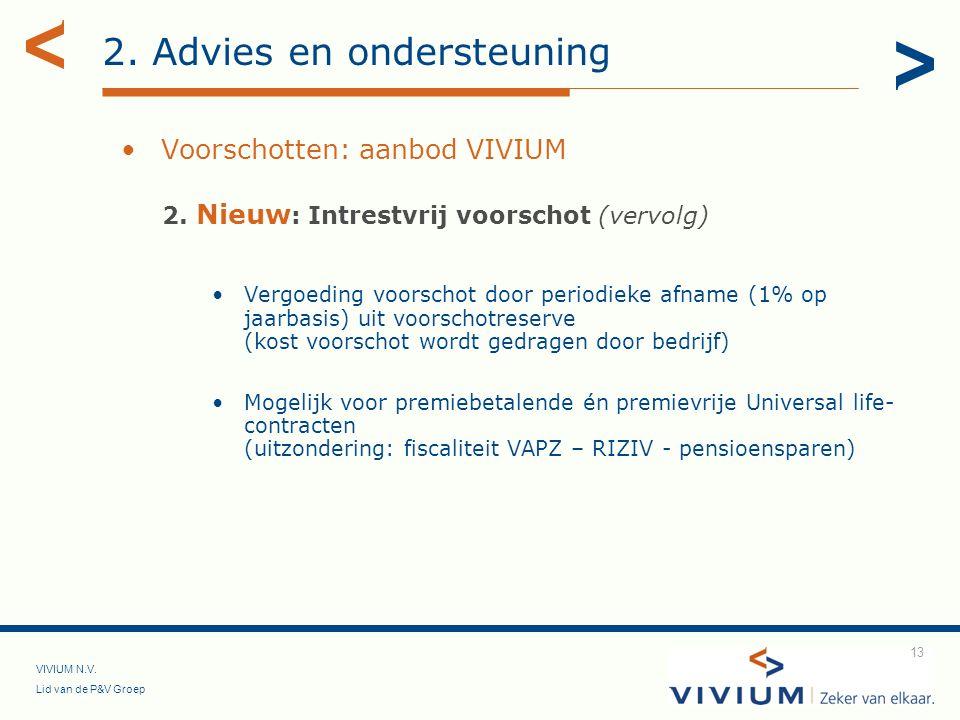 VIVIUM N.V. Lid van de P&V Groep 13 2. Advies en ondersteuning Voorschotten: aanbod VIVIUM 2. Nieuw : Intrestvrij voorschot (vervolg) Vergoeding voors