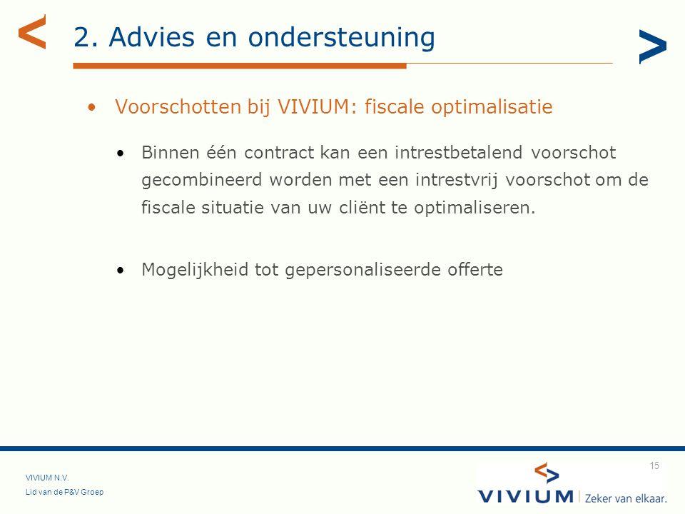 VIVIUM N.V. Lid van de P&V Groep 15 2. Advies en ondersteuning Voorschotten bij VIVIUM: fiscale optimalisatie Binnen één contract kan een intrestbetal