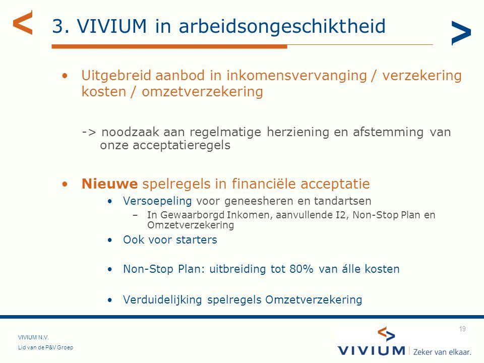 VIVIUM N.V. Lid van de P&V Groep 19 3. VIVIUM in arbeidsongeschiktheid Uitgebreid aanbod in inkomensvervanging / verzekering kosten / omzetverzekering