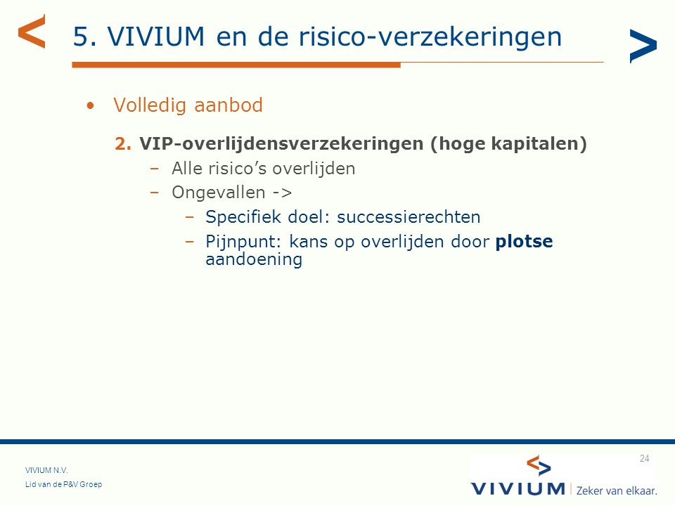 VIVIUM N.V. Lid van de P&V Groep 24 Volledig aanbod 2.VIP-overlijdensverzekeringen (hoge kapitalen) –Alle risico's overlijden –Ongevallen -> –Specifie
