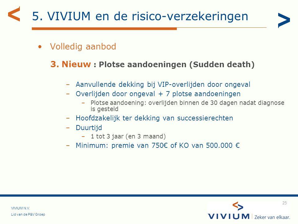 VIVIUM N.V. Lid van de P&V Groep 25 Volledig aanbod 3.Nieuw : Plotse aandoeningen (Sudden death) –Aanvullende dekking bij VIP-overlijden door ongeval