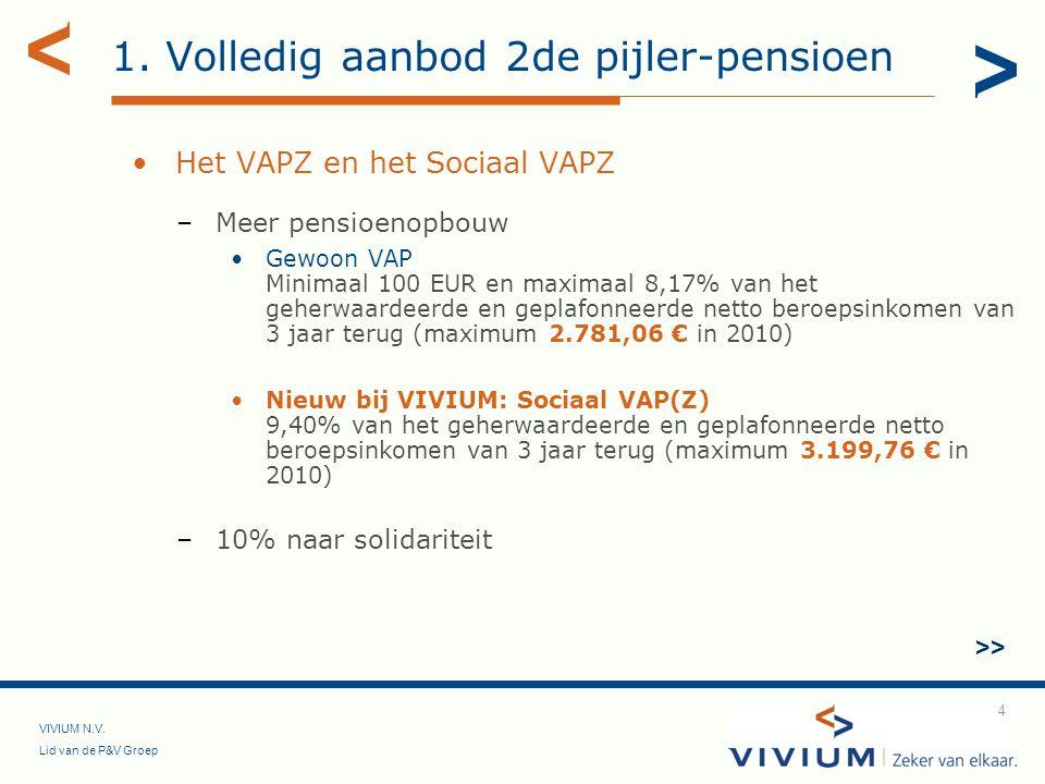VIVIUM N.V. Lid van de P&V Groep 4 1. Volledig aanbod 2de pijler-pensioen Het VAPZ en het Sociaal VAPZ –Meer pensioenopbouw Gewoon VAP Minimaal 100 EU