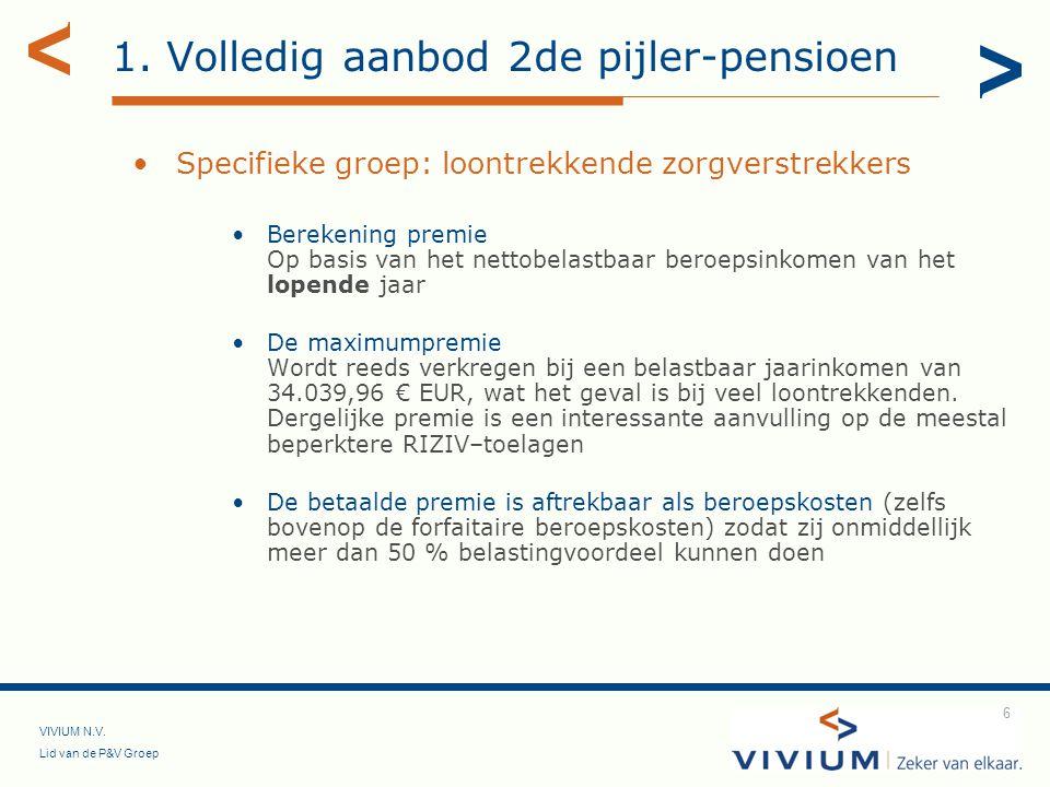 VIVIUM N.V. Lid van de P&V Groep 6 1. Volledig aanbod 2de pijler-pensioen Specifieke groep: loontrekkende zorgverstrekkers Berekening premie Op basis