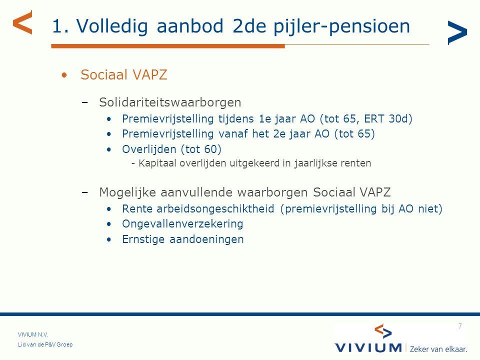 VIVIUM N.V. Lid van de P&V Groep 7 1. Volledig aanbod 2de pijler-pensioen Sociaal VAPZ –Solidariteitswaarborgen Premievrijstelling tijdens 1e jaar AO