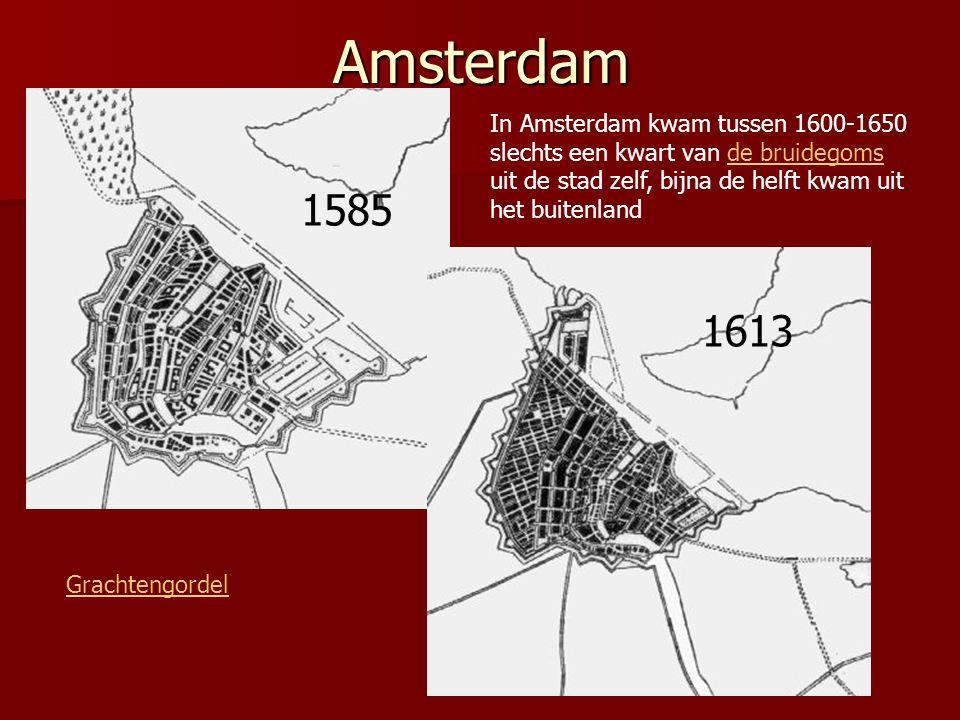Amsterdam 1585 1613 Grachtengordel In Amsterdam kwam tussen 1600-1650 slechts een kwart van de bruidegoms uit de stad zelf, bijna de helft kwam uit he