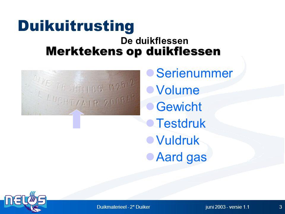 juni 2003 - versie 1.1Duikmaterieel - 2* Duiker3 Serienummer Volume Gewicht Testdruk Vuldruk Aard gas Duikuitrusting Merktekens op duikflessen De duikflessen