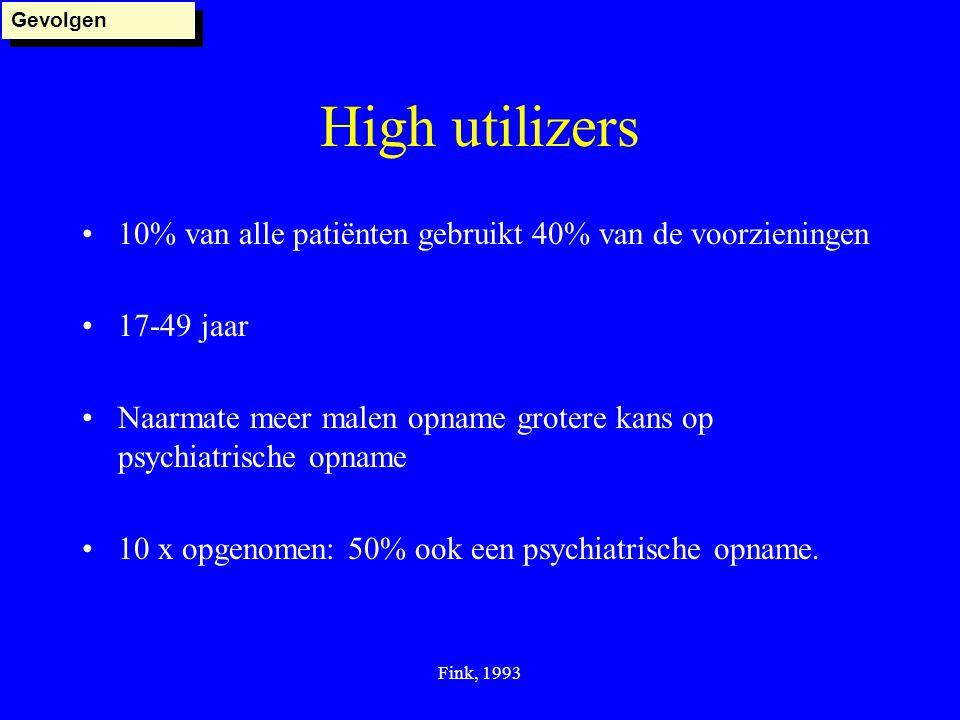 Fink, 1993 High utilizers 10% van alle patiënten gebruikt 40% van de voorzieningen 17-49 jaar Naarmate meer malen opname grotere kans op psychiatrisch