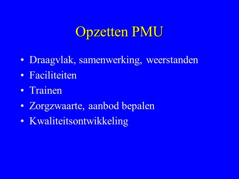 Opzetten PMU Draagvlak, samenwerking, weerstanden Faciliteiten Trainen Zorgzwaarte, aanbod bepalen Kwaliteitsontwikkeling