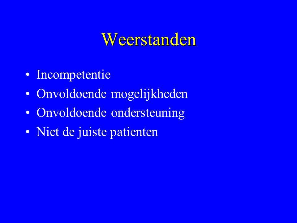 Weerstanden Incompetentie Onvoldoende mogelijkheden Onvoldoende ondersteuning Niet de juiste patienten