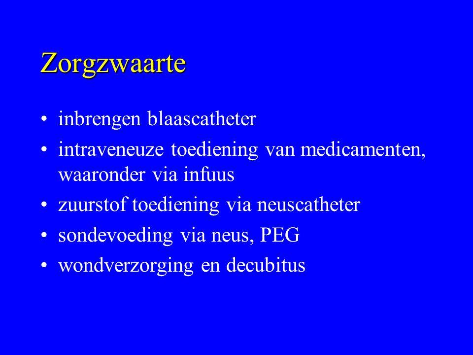 Zorgzwaarte inbrengen blaascatheter intraveneuze toediening van medicamenten, waaronder via infuus zuurstof toediening via neuscatheter sondevoeding v