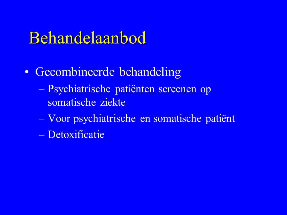 Behandelaanbod Gecombineerde behandeling –Psychiatrische patiënten screenen op somatische ziekte –Voor psychiatrische en somatische patiënt –Detoxific