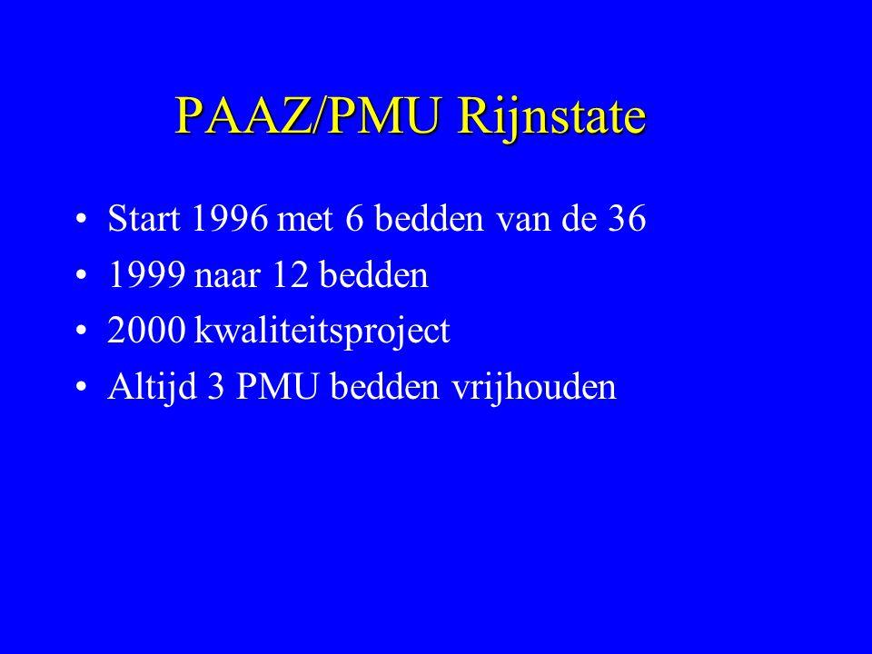 PAAZ/PMU Rijnstate Start 1996 met 6 bedden van de 36 1999 naar 12 bedden 2000 kwaliteitsproject Altijd 3 PMU bedden vrijhouden