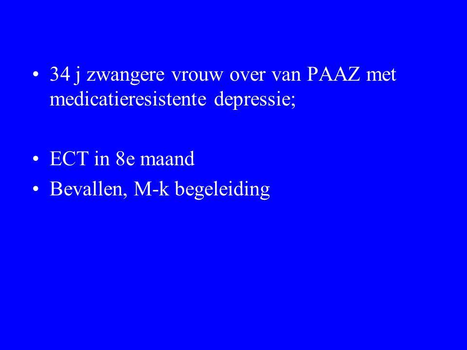 34 j zwangere vrouw over van PAAZ met medicatieresistente depressie; ECT in 8e maand Bevallen, M-k begeleiding