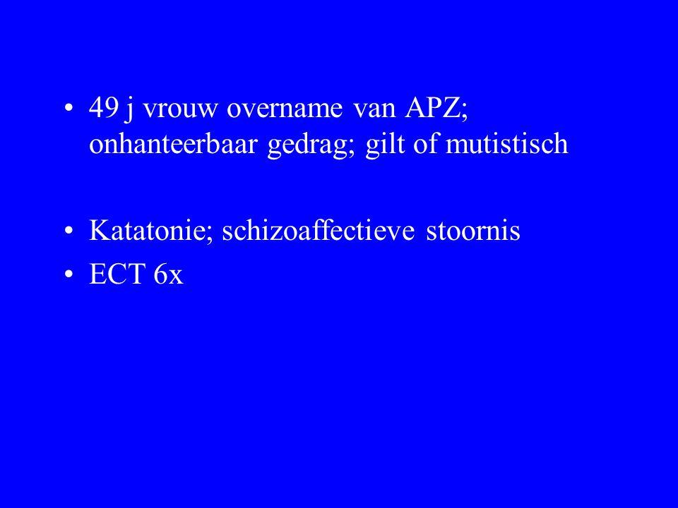 49 j vrouw overname van APZ; onhanteerbaar gedrag; gilt of mutistisch Katatonie; schizoaffectieve stoornis ECT 6x