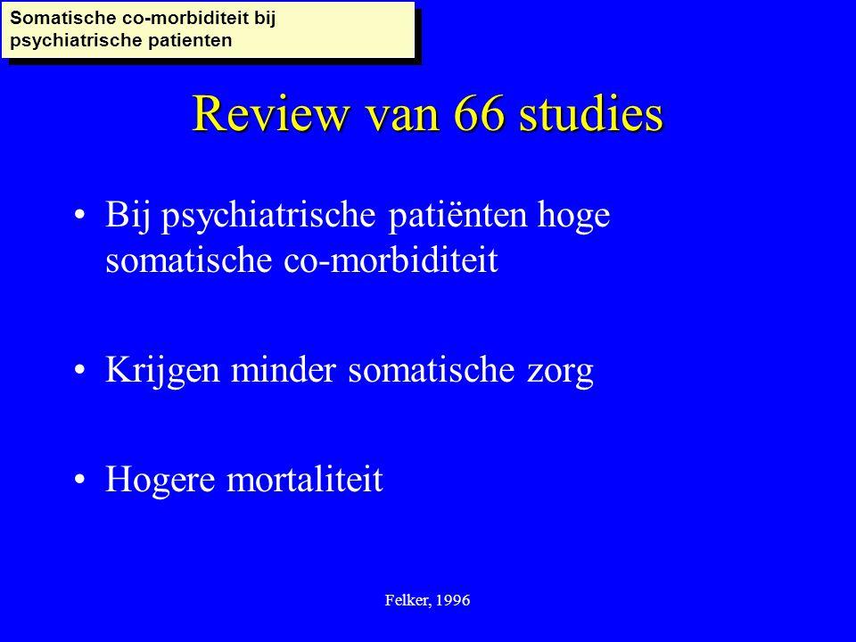 Felker, 1996 Bij psychiatrische patiënten hoge somatische co-morbiditeit Krijgen minder somatische zorg Hogere mortaliteit Review van 66 studies Somat