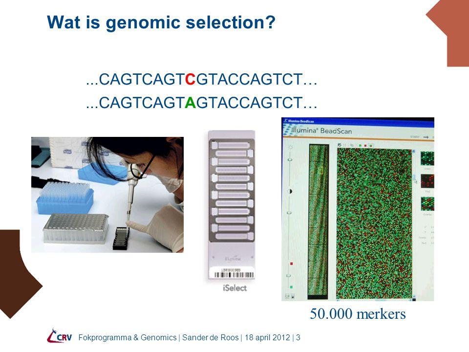 Fokprogramma & Genomics   Sander de Roos   18 april 2012   4 Wat is genomic selection.