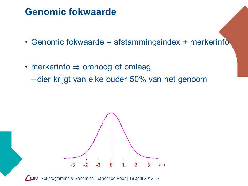 Fokprogramma & Genomics | Sander de Roos | 18 april 2012 | 5 Genomic fokwaarde Genomic fokwaarde = afstammingsindex + merkerinfo merkerinfo  omhoog of omlaag –dier krijgt van elke ouder 50% van het genoom