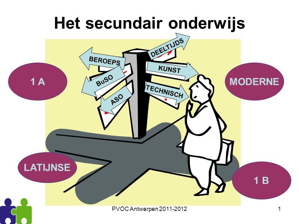 PVOC Antwerpen 2011-20121 BEROEPS KUNST BuSO DEELTIJDS TECHNISCH ASO LATIJNSE MODERNE 1 B 1 A Het secundair onderwijs