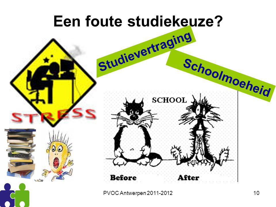PVOC Antwerpen 2011-201210 Een foute studiekeuze? Studievertraging Schoolmoeheid
