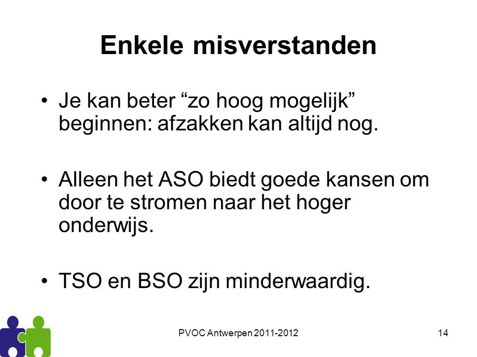 """PVOC Antwerpen 2011-201214 Enkele misverstanden Je kan beter """"zo hoog mogelijk"""" beginnen: afzakken kan altijd nog. Alleen het ASO biedt goede kansen o"""