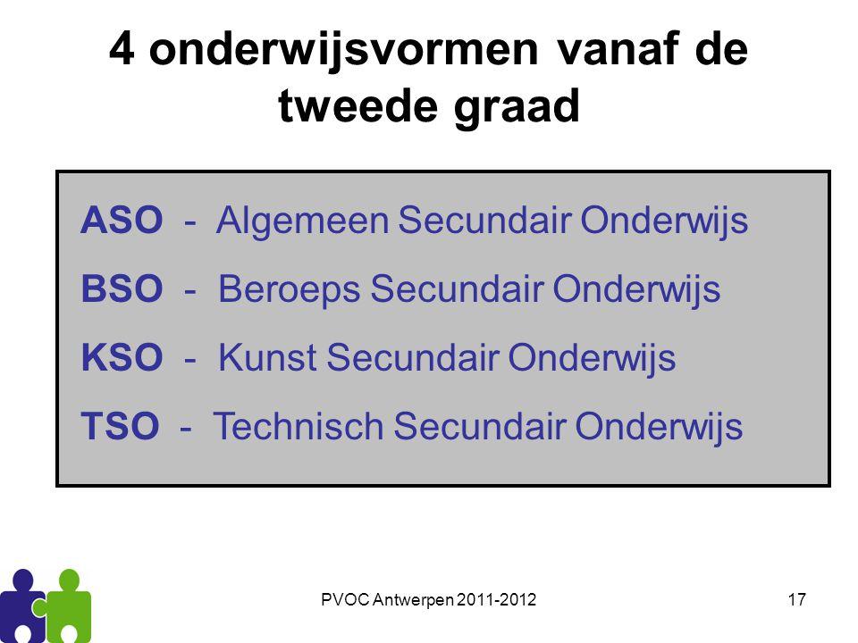 PVOC Antwerpen 2011-201217 4 onderwijsvormen vanaf de tweede graad ASO - Algemeen Secundair Onderwijs BSO - Beroeps Secundair Onderwijs KSO - Kunst Se