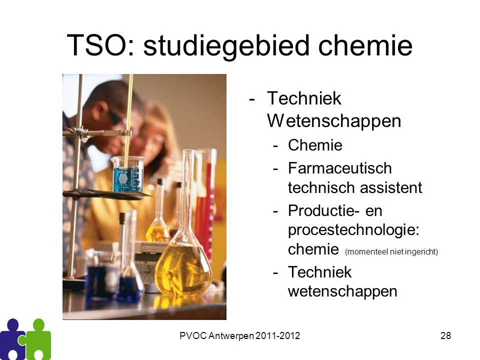 PVOC Antwerpen 2011-201228 TSO: studiegebied chemie -Techniek Wetenschappen -Chemie -Farmaceutisch technisch assistent -Productie- en procestechnologi