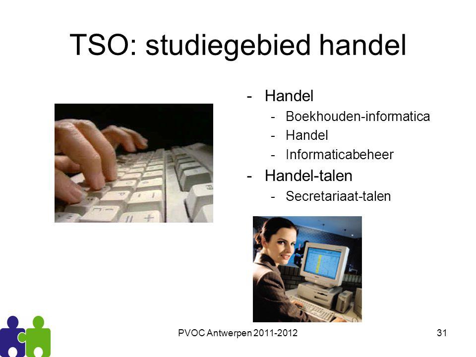 PVOC Antwerpen 2011-201231 TSO: studiegebied handel -Handel -Boekhouden-informatica -Handel -Informaticabeheer -Handel-talen -Secretariaat-talen