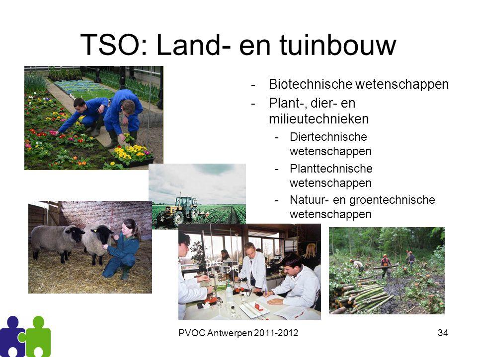 PVOC Antwerpen 2011-201234 TSO: Land- en tuinbouw -Biotechnische wetenschappen -Plant-, dier- en milieutechnieken -Diertechnische wetenschappen -Plant