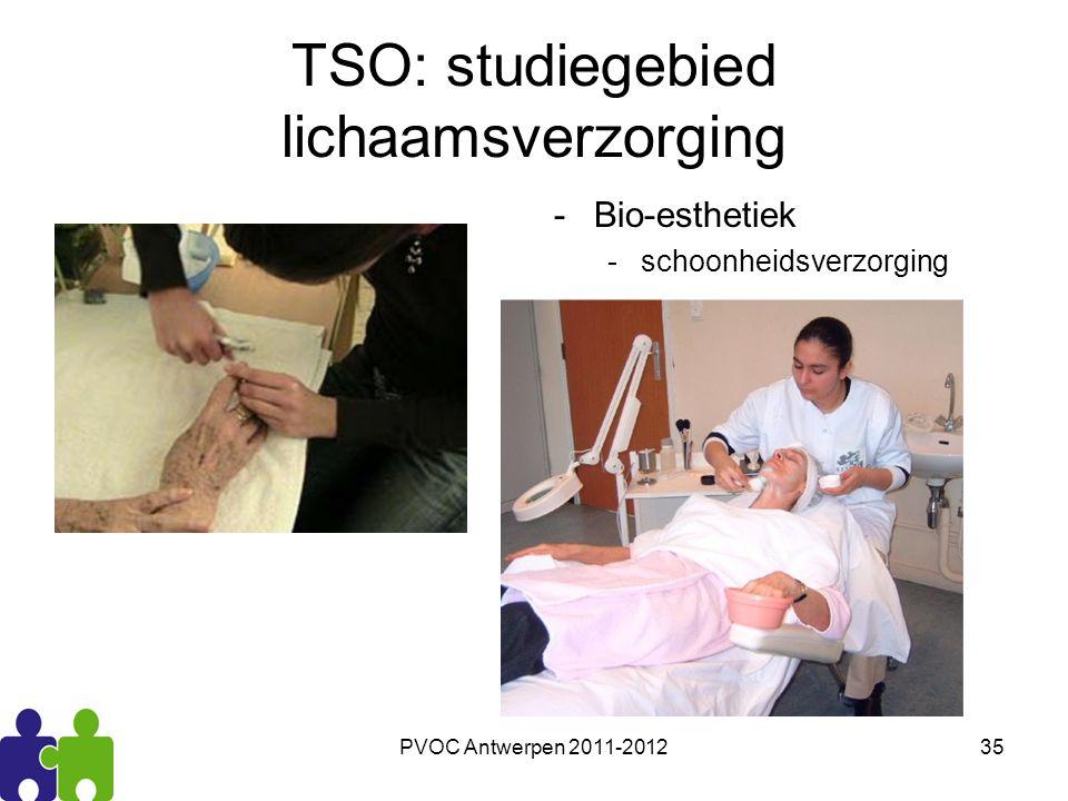 PVOC Antwerpen 2011-201235 TSO: studiegebied lichaamsverzorging -Bio-esthetiek -schoonheidsverzorging