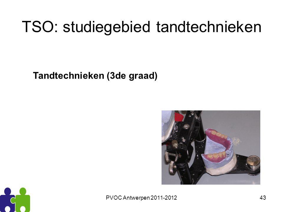 PVOC Antwerpen 2011-201243 TSO: studiegebied tandtechnieken Tandtechnieken (3de graad)