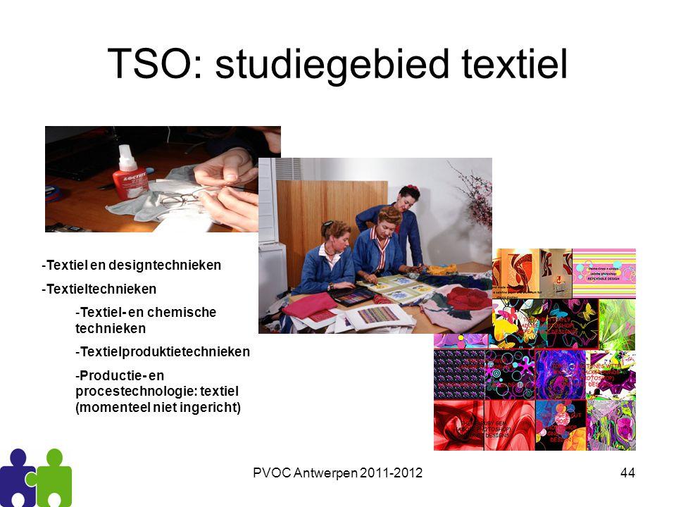 PVOC Antwerpen 2011-201244 TSO: studiegebied textiel -Textiel en designtechnieken -Textieltechnieken -Textiel- en chemische technieken -Textielprodukt