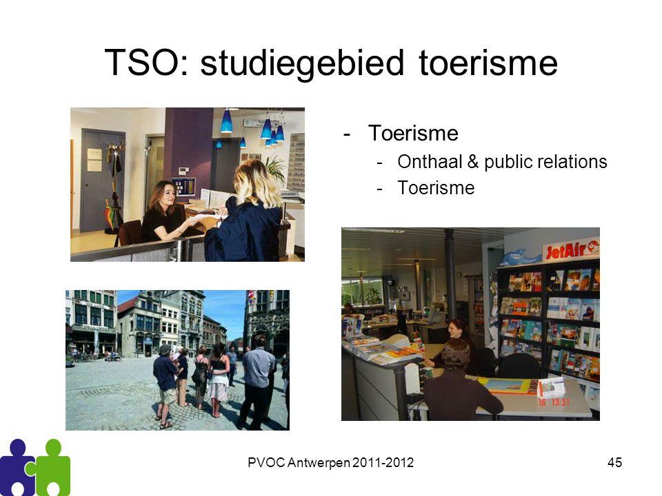PVOC Antwerpen 2011-201245 TSO: studiegebied toerisme -Toerisme -Onthaal & public relations -Toerisme