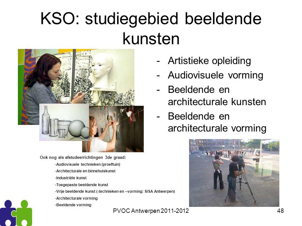 PVOC Antwerpen 2011-201248 KSO: studiegebied beeldende kunsten -Artistieke opleiding -Audiovisuele vorming -Beeldende en architecturale kunsten -Beeld