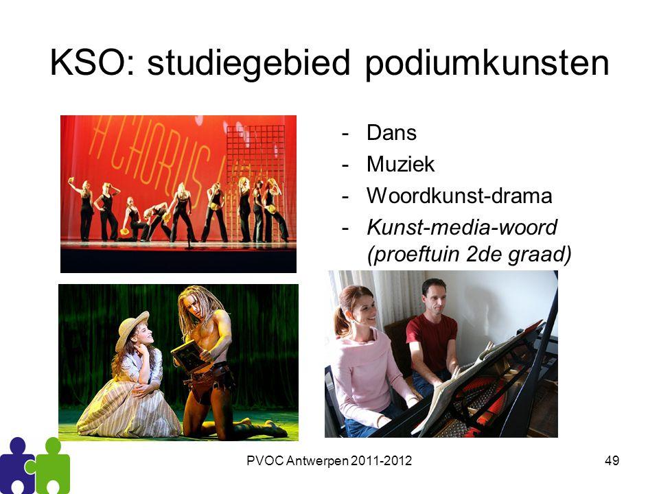 PVOC Antwerpen 2011-201249 KSO: studiegebied podiumkunsten -Dans -Muziek -Woordkunst-drama -Kunst-media-woord (proeftuin 2de graad)