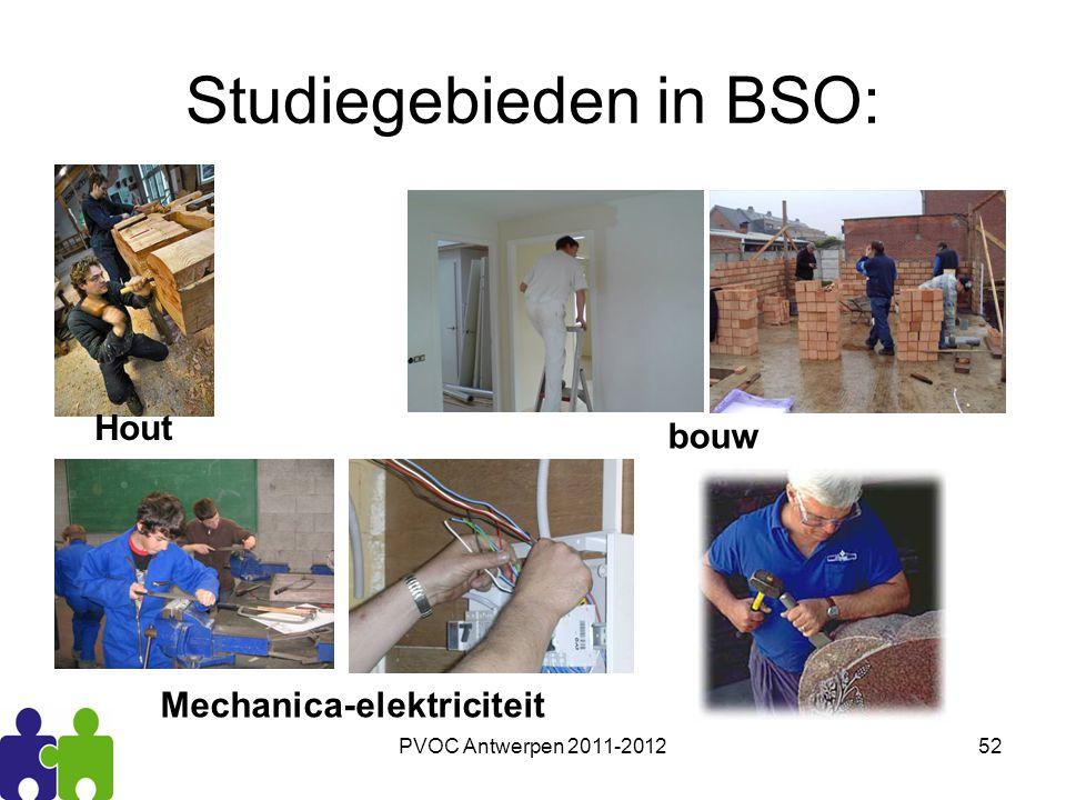 PVOC Antwerpen 2011-201252 Studiegebieden in BSO: bouw Mechanica-elektriciteit Hout